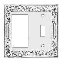 Renovators Supply - Switchplates Chrome Victorian GFI Toggle Switch Plate - Victorian Chrome GFI Toggle. Beautiful Victorian inspired switchplates gives any room that perfect touch! Make of die cast brass with a chrome-plate finish. Exquisite design and quality.