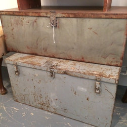Cuatro Furniture Consignment Store - Metal amo trunk. Great for storage and decor
