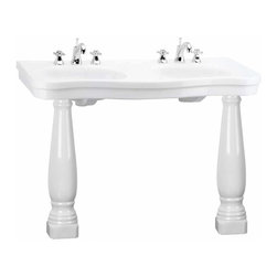 "Renovators Supply - White China Double Console Sink Roman Epoque 8"" - Bath Double Sink: Belle Epoque double deluxe."