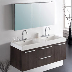 Fresca - Fresca Gray Oak Modern Double Sink Bathroom Vanity & Medicine Cabinet - This elegant twin set vanity unit is a great choice for couples. Ample storage is given on both sides, and an oversized medicine cabinet is included. Featuring a stylish Gray Oak finish, the Opulento will liven up any bathroom.  Opulento Bathroom Vanity Details:   Dimensions: Vanity: 54W x 18 5/8D x 23 1/2H, Medicine Cabinet: 49W x 26H x 5D Material: MDF with Acrylic Countertop/Sink with Overflow Finish: Gray Oak Soft closing doors and drawers Widespread faucet mount Includes medicine cabinet Please note: faucet not included