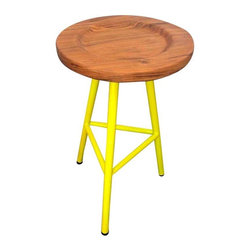 Pre-owned Custom Neon Yellow Ohio Stools - Set of 3 - These three gorgeous tripod counter stools have round walnut wood seats and a custom powder coat color that was designed to match Benjamin Moore #404. The stools have never been used and are perfect for adding a fun pop of color to any room.