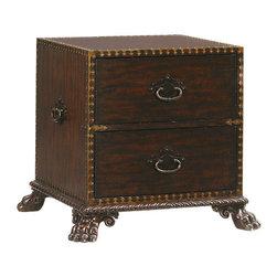 Frontgate - Bradford Drawer End Table - Features metal bail pulls and ring hardware with a burnished, aged brass patina. Moderately distressed russet brown finish on mahogany. Coordinates with other items from our Tommy Bahama Island Traditions collection. Exuding a sense of antiquity and adventure, the stunning Bradford Drawer End Table is sure to be a conversation piece. This unique living room accent derives inspiration from classic campaign trunks, and features a mahogany case. Set upon carved lion's paw feet and carved rope base molding, the table is adorned with exquisitely detailed decorative metal framing.  .  .  .