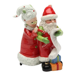 ATD - 4 Inch Mrs. Claus and Santa Claus Checking the List Salt and Pepper - This gorgeous 4 Inch Mrs. Claus and Santa Claus Checking the List Salt and Pepper has the finest details and highest quality you will find anywhere! 4 Inch Mrs. Claus and Santa Claus Checking the List Salt and Pepper is truly remarkable.