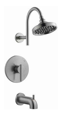 Design House - Geneva Tub and Shower Faucet in Satin Nickel - Single function ABS shower head. Brass waterways. Ceramic disc cartridge. 0.25 in. quarter turn stop. Single handle configuration. Pull-up diverter spout. 2.1 gallon per minute at 80 PSI flow rate. UPC, cUPC, ASME, ANSI, ADA, compliant. Made from brass. 14.56 in. W x 78 in. H. Warranty. Installation InstructionsGeneva tub and shower faucet to easily adjust the temperature in your bathtub or shower. This faucet set is refined and elegant with a washer less cartridge. The brass waterways contain zinc and copper which are known to prevent antimicrobial growth ensuring safe and clean water for your family. This adjustable shower head and tub spout is sleek, modern and stylish and can easily match any color scheme or style in your bathroom. This product adheres to industry leading practices and is designed with quality and innovation in mind.