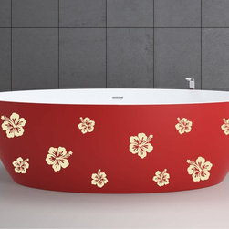 StickONmania - Bathtub Design Decal #21 - These decals come with two of each element mirrored, you choose how to place them.A vinyl decal sticker that lets you choose how to decorate. Decorate your home with original vinyl decals made to order in our shop located in the USA. We only use the best equipment and materials to guarantee the everlasting quality of each vinyl sticker. Our original wall art design stickers are easy to apply on most flat surfaces, including slightly textured walls, windows, mirrors, or any smooth surface. Some wall decals may come in multiple pieces due to the size of the design, different sizes of most of our vinyl stickers are available, please message us for a quote. Interior wall decor stickers come with a MATTE finish that is easier to remove from painted surfaces but Exterior stickers for cars,  bathrooms and refrigerators come with a stickier GLOSSY finish that can also be used for exterior purposes. We DO NOT recommend using glossy finish stickers on walls. All of our Vinyl wall decals are removable but not re-positionable, simply peel and stick, no glue or chemicals needed. Our decals always come with instructions and if you order from Houzz we will always add a small thank you gift.