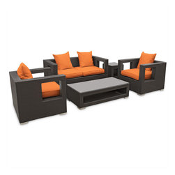 "Modway - Lunar Sofa Set in Espresso Orange - Elicit pure perceptions with this brightly illuminated outdoor living set. Inherit abundant light and energy as even the moon's halo shines a radiant glow on fertile orange all-weather cushions and espresso rattan base. Rejuvenating discussions await along the path of illuminated space and emergent explorations. Includes: Four - Lunar Outdoor Wicker Patio Throw Pillows; One - Lunar Outdoor Wicker Patio Coffee Table ; One - Lunar Outdoor Wicker Patio Loveseat; One - Lunar Outdoor Wicker Patio Side Table; Two - Lunar Outdoor Wicker Patio Armchairs; All Weather Synthetic Rattan Weave; Powder Coated Aluminum Frame; Water & UV Resistant; Machine Washable Cushion Covers; Easy To Clean Tempered Glass Top; Ships Pre-Assembled; Coffee Table: 47""L x 24""W x 13""H; Side Table: 18""L x 18""W x 18""H; LoveSeat: 59""L x 33""W x 28""H; ArmChair: 33""L x 31""W x 28""H; Seat Height: 13""H; Back Height: 27.5""H; Armrest: 4""W x 27.5""H; Cushion Depth: 4""H"