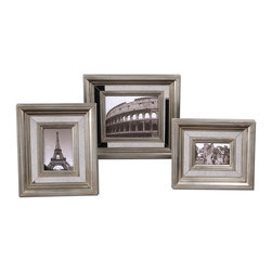 """Uttermost - Uttermost Hasana Antique Silver Photo Frame Set of 3 18519 - Antiqued mirror center panels surrounded by antiqued silver frames. Holds photo Sizes: 4""""W x 6""""H, 5""""W x 7""""H, 8""""W x 10""""H. Frame Sizes: Small size: 13""""W x 15""""H x 2""""D, Medium size: 14""""W x 16""""H x 2""""D, Large size: 17""""W x 19""""H x 2""""D."""