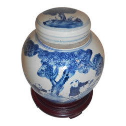 """Oriental Furnishings - Blue and White Ginger Jars in Antique-Style Finish - This Chinese 6"""" high blue and white ginger lid jar makes an outstanding statement in any room. This Antique reproduction jar and lid are both adorned with a hand painted pastoral scene and children in blue cobalt glaze.  An antique finish and line borders enhance its uniqueness. We recommend our Oriental vase stand that measures 4"""" for added elegance and display. Use in a grouping with other blue and white porcelains on a table top for an eye catching grouping. Use as a storage vessel on the ground or on a table top. They are made in Jingdezhen, the ancient capital of porcelain making and look like antiques."""