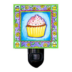 Cupcake Night Light - Our delicious Cupcake Night Light will look tasty anywhere, from the kitchen to a little girl's bedroom. It is made from a print of original watercolor which is sandwiched in between two layers of durable acrylic. The light is UL approved and comes with a standard four watt night light bulb. Gift box included. Made in the USA. (Be sure to look for our cupcake alarm clock, too!)