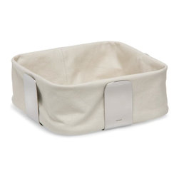 Blomus - Desa Large Bread Basket in Sandy Yellow - Removable fabric lining. Made of cotton and stainless steel. Designed by Floz Design. 1-Year manufacturer's defect warranty. 10.08 in. L x 10.08 in. W x 4.14 in. H