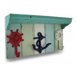 Zeckos - Red, White and Nautical Blue Wood and Metal Weathered Wall Hook Shelf - Show off your favorite nautical knick knacks on this weathered finish blue and white wooden wall shelf with red, white and blue nautical themed metal hooks perfect for hanging anything from coats, hats and jackets to the dog's leash, dried flowers, keys in the entryway or towels in the pool house Amazing in a beach, nautical or underwater themed room, this 16 inch long, 8.5 inch high, 4 inch deep (41 X 22 X 10 cm) wall hanging includes attached keyhole hangers on the back making mounting to any wall easy whether inside your home or on your sheltered porch, and makes a wonderful gift for fans of the deep blue sea