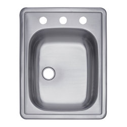 Kingston Brass - Single Bowl Self-Rimming Bar Sink - The single-bowl self-rimming bar sink features a rectangular basin measured 17-1/4in. in length and 22in. in width. The basin is sleek with a 2in. drain hole and includes a three-hole opening on the middle platform. The basin contains ample space for washing kitchen appliances, preparing food and is made of high quality stainless steel for reliance and durability. The sink is also fully protected by a heavy-duty sound deadening pad to minimize noise while washing appliances in the sink.