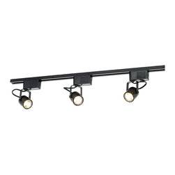 "ProTrack - Contemporary LED or Halogen Pro Track Black 3-Light Low Voltage Track Kit - Great lighting for almost any room in your home or office! This low voltage complete track kit installs quickly and easily. Kit includes a 4-foot length of track 3 adjustable bullet lights and a floating canopy. Takes three 50 watt MR16 bulbs (not included) or three 5 watt LED bulbs (included). Optional cord and plug adapter with in-line on/off switch is available. Black finish. 4 foot track. Lights are 7"" high.  Can use either LEDs or halogens.   From Pro Track lighting.   Black finish.   3 adjustable bullet lights.   Takes three 50 watt MR16 bulbs (not included) or three 5 watt LED bulbs (included).   If using LEDs 360 lumens from each light.   Each LED comparable to a 35 watt incandescent bulb.   LEDs 3000K each.   4 foot track.   Lights are 7"" high.   Optional cord available.   Can be dimmed with a  Low Voltage magnetic dimmer (sold separately)."