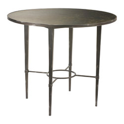 Kathy Kuo Home - Cavaillon French Industrial Loft Round Iron Dining Table - Hand-hewn iron is both strong and delicate in this gun metal grey table. Petite, yet powerful, this dining table punches up your design savvy, adding Industrial elements with French country finishes. It is the perfect place for an intimate breakfast or afternoon wine and cheese.