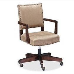 "Manchester Swivel Desk Chair, Espresso stain Frame with Light Wheat everydaysued - Distinguished by straight lines and simple details, our swivel style chair allows you to navigate your workspace with ease. Outlined with antique bronze nail heads, it features a gently pitched back and firmly cushioned seat for exceptional comfort. 29"" wide x 27.5"" deep; height adjusts from 34.5"" to 38.25"" Expertly crafted with a solid hardwood frame and finished by hand. Upholstered in choice of leather, everydaysuede(TM) or linen. Chair swivels and rolls easily on casters. View our {{link path='pages/popups/fb-home-office.html' class='popup' width='480' height='300'}}Furniture Brochure{{/link}}."