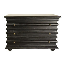 Noir - Noir - Ascona Small Chest, Hand Rubbed Black - Hand Rubbed Black Mahogany Wood