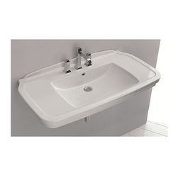 WS Bath Collections - 39.4 in. Bathroom Washbasin - Includes mounting hardware. Contemporary style. One faucet hole. Designer high end quality. Wall-mount or countertop, over counter installation. Make to highest industry standards. ADA compliant. With overflow. Warranty: One year. Made from ceramic. White color. Made in Italy. No assembly required. 39.4 in. W x 19.7 in D x 7.7 in. H (60 lbs.). Specs sheetArtistic modern ceramic washbasins with the greatest imaginable versatility in appication. Models that adhere to the more current trends of design, harmony and elegance.