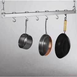 Concept Housewares 36 Inch Dual Track Hanging Pot Rack - Get maximum storage capabilities in one compact item with the 36-Inch Dual-Track Hanging Pot Rack. Use the two metal connecting bolts to hold together the two wood pieces to create a stylishly simple hanging pot rack. A dual-track system created by the two independent pieces makes it easy to slide the hanging hooks from one end to the other giving you true versatility. Two swiveling hooks and four pan hooks are included so you're ready to use this rack as soon as it's hung. End hooks create a sturdy hanging point on each end of the rack. With four finish options to choose from you're sure to find one that will blend well in your kitchen. About the ManufacturerFor over 10 years Concept Housewares has been a leader in kitchen storage and Asian cookware. Concept Housewares products are designed with the consumer in mind and are made with the best materials and craftsmanship available. These products are repeatedly recognized for quality style and innovation allowing customers to accessorize their kitchens at an exceptional value. Concept Housewares strives to find new ways to organize and streamline today's kitchens without compromising style.