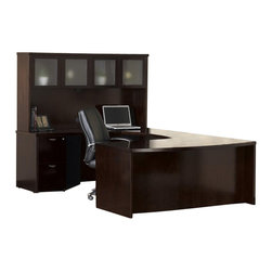 Mayline - Mayline Mira Series Typical 9 Wood U-Shaped Desk Set in Espresso - Mayline - Modular Office Configurations - MEU1ESP - Mira's simple curves create an elegant setting for any work environment. The finest quality workmanship in-stock availability and affordability make it a very popular series.