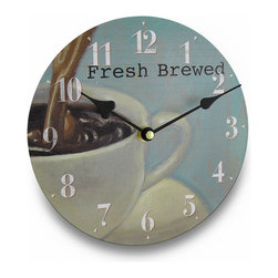 Zeckos - Coffee Drinkers Delight Fresh Brewed Cup of Coffee Wall Clock 8 In. - The coffee obsession continues Perfect for coffee drinkers, this fabulous 8 inch (20 cm) diameter pressed wood wall clock would look amazing in contemporary or modern themed homes, in the office break room or near the coffee maker in your kitchen with it's artistic cup of joe on the face Featuring a bright, white numbered dial and contrasting hands that make it easy to read the time, while the delicate colors make it easy to blend in with existing decor, and the quartz movement runs on 1 AA battery (not included). This clock would make a wonderful housewarming gift for any of your coffee drinking friends or family members