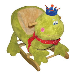 Charm Co. - Charming Frog with Crown Rocker - The charming frog with crown rocker is made up of strong wood and covered by soft plush material.