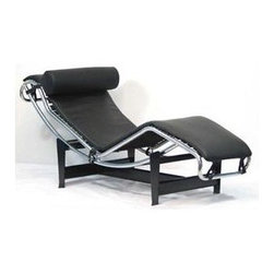 East End Imports - Classic Chaise Lounge in Black Leather - Ultra-premium stainless steel frame polished to addition mirror finish. Base frame in Black steel finish. Protected aniline-dyed premium imported leather. Detachable head rest pillow. Full range of reclining positions. Full Italian leather. 61.5 in. L x 21.5 in. W x 22-22 in. H. High-quality replica of the famed Corbusier Lounge ChairThis Chaise Lounge offers the ultimate relaxation experience. Its sleek lines combined with beautiful curves definitely makes a statement for any room. This leather chaise lounger features a full range of reclining positions for you to enjoy. Base frame in black steel finish features rubber gripping pads for easy and safe positioning of chaise in desired position. The surface is a soft high grade Aniline Protected leather, which provides you comfort and long lasting quality. Our leather offers a supple feel. The Chaise Lounge makes a great addition to your modern living style.