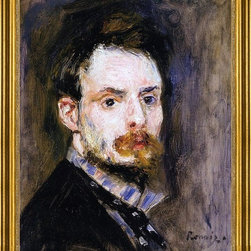 """Pierre Auguste Renoir-16""""x20"""" Framed Canvas - 16"""" x 20"""" Pierre Auguste Renoir Self Portrait framed premium canvas print reproduced to meet museum quality standards. Our museum quality canvas prints are produced using high-precision print technology for a more accurate reproduction printed on high quality canvas with fade-resistant, archival inks. Our progressive business model allows us to offer works of art to you at the best wholesale pricing, significantly less than art gallery prices, affordable to all. This artwork is hand stretched onto wooden stretcher bars, then mounted into our 3"""" wide gold finish frame with black panel by one of our expert framers. Our framed canvas print comes with hardware, ready to hang on your wall.  We present a comprehensive collection of exceptional canvas art reproductions by Pierre Auguste Renoir."""