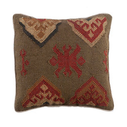 Navajo Pillow - Harvest - In the Navajo culture, several patterns and symbols are woven into the fabrics of rugs and various garments to celebrate nature and serve as a warning in its power. This pillow design is similar to the symbol for the harvest. Mix it into your other throw pillows to add some color, and bring in organic textures to your space.