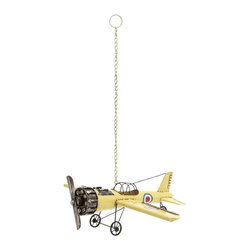 BZBZ92625 - Decorative and Classy Yellow Vintage Bi Airplane Model - Decorative and Classy Yellow Vintage Bi Airplane Model. Enhance your home or office decor with the vintage feel and look of this bright yellow airplane. Some assembly may be required.