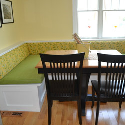 Banquettes - Banquette upholstery for a beach house in Avalon, NJ.  Both fabrics are indoor/outdoor by Bella-Dura.