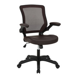 LexMod - Veer Office Chair with Mesh Back and Vinyl Seat in Black - Chart new territory while seated from the comfort of the Veer Chair.