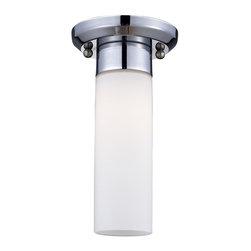 Joshua Marshal - Chrome 1 Light Flush Mount Ceiling Fixture with Glass Cylinder Shade - Finish: Chrome