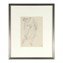 Lost Art Salon - Early-Mid Century Jennings Tofel Original Framed Figure Drawing - The gentle slope of the figure, depicted by artist Jennings Tofel, in this ink drawing will bring inspiration and a sense of simplicity every time you gaze at it on your wall. This early midcentury piece captures a moment that reflects eternity.