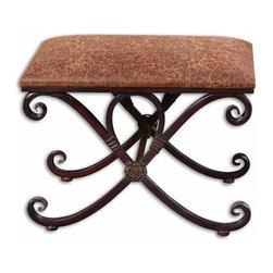 Uttermost - Manoj Distressed Small Bench - Dark, coffee brown metalwork with mahogany undertones and a padded seat covered in distressed, saddle brown fabric.