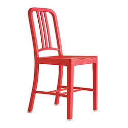 111 Navy Side Chair, Coca-cola Red - Just as durable as the classic Emeco Navy chair, this version is made from recycled Coke bottles in a cheerful red hue. They can even be left outdoors.