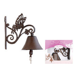 Esschert Design - Butterfly Cast Iron Door Bell - Bells and butterflies welcome guests as they approach your house. The charming iron doorbell has a real, cotton pull-string that they tug to get your attention and reminds everyone that nothing is as unique and warm as old fashioned hospitality.
