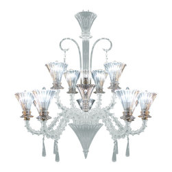 Royal Crystal Lighting - Royal Crystal Lighting Murano Glass Chandelier 14 Lights - Clear Murano glass with large crystal pendants prism , Elegant and Modern.