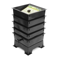 "The Worm Factory® 4-Tray Recycled Plastic Worm Composter - Black - The Worm Factory 4-Tray Recycled Plastic Worm Composter - Black is like a capsule hotel in Tokyo … except the guests are 6 000 worms and it goes in your backyard. Made from 100% recycled plastic this composter allows worms to happily nosh 24/7 on your kitchen waste and whatnot providing you rich organic material. Odorless well-organized green … and best of all the worms will eat your junk mail. Or bills. What is The Worm Factory and how does it work?Unique and ingenious the Worm Factory is composter comprised of stacking trays in which worms eat your scraps and leave behind rich organic material. Fill each tray with scraps like vegetables fruits egg shells coffee grounds paper and junk mail and in turn you'll get nutrient-rich compost for your garden. Worm castings are known to be the very best compost available. Your plants will thrive with this all-natural compost. Worms start in the bottom tray and work upward as they break down the waste. The worms leave behind the stuff and you don't even have to sort through the wiggly friends at all as they're already on the next tray up. Plus nutrient-rich moisture is captured in the collection tray and can be used as liquid fertilizer known as """"worm tea."""" What are the benefits of using The Worm Factory? It's Compact: It stacks instead of spreading out so if you're short on space no worries. The Worm Factory takes up a minimal amount of space. Odorless: With a smart ventilation lid and specific suggestions in the instruction manual The Worm Factory remains odorless as it works tirelessly to create rich organic material. So breathe easy! Easy to Manage: The trays are lightweight and easy to stack and move and the accompanying instruction manual is chock full of suggestions to make composting easy and seamless. Saves Time: Forget running out to your composter to tumble and turn it! Let the worms do the work for you. They'll happily munch their way through your scraps and even junk mail and you reap the benefits of what they leave behind. They don't stop either so the rate of compost is faster. Those babies can nosh up to 8 pounds of food per week providing you a whole tray of nutrient-rich castings every month. That's efficiency."