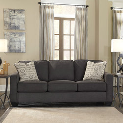 Signature Design by Ashley - Signature Design by Ashley Alenya Charcoal Sofa and Accent Pillows - Incorporate trendy design into your living room with the Alenya sofa by Ashley Furniture. Charcoal grey fabric upholstery gives this piece subtle,unassuming style,while two included script-pattern throw pillows add vintage charm.