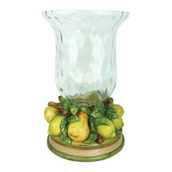 Sterling Industries - Sterling Industries Le Jardin Hurricane X-2090-39 - This Sterling Industries hurricane from the Le Jardin Collection features beautiful traditional curvature and unexpected water glass styling. Near the bottom of the hurricane, stems, leaves and various fruits are arranged accordingly on top of a beveled base with coordinating green and cream tones.