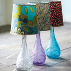Dimpled Glass Lamp Bases With Ditsy Lamp Shades - Who says lamps need to be boring? Liven things up this spring with a colorful glass lamp and patterned shade.