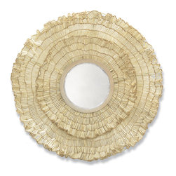 Kathy Kuo Home - Cocoa Wood Ruffled Large Round Coastal Beach Wall Mirror - A large, round cream-colored mirror makes an exotic, eclectic statement. Embellished with cocoa wood and antique white beads, the layered ruffles make a pattern of floral petals. This artistic statement brings a grand garden bloom into your home.