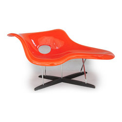 "Kardiel Eames Style La Chaise Lounge Chair Fiberglass, Orange/Walnut Stained Woo - Sculpturally windswept, the 1948 Eames La chaise was more of an art piece than a chair. The design, built around the concept of reverse sculpting the human form, provides a flowing, ergonomically superior lounge experience. Charles and Ray created the piece for the Museum of Modern Art, despite demand it could not be sold at that time. The complex design proved too expensive to produce until decades later. Multiple fiberglass shells are bonded together to create a comfortable depth to the touch. Separated by a hard rubber disk, the void between the two shells is filled with Styrene, just as in 1948. The free flowing design is built to platform the relaxed human form. The shell with its curved waterfall edges is suspended by 5 strategically placed diagonally solid steel posts. 3 attach in a direct vertical fashion to the Solid Walnut cross intersecting platform below. The right facing ""front"" two rods cross in the center before attaching. The Kardiel reproduction of the 1948 La Chaise follows to exacting detail, both dimensions and materials used in the crafting of this modern classic. Today as then, it is a sculpture first, and a chaise second."