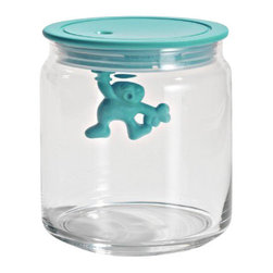 "Alessi - Alessi ""Gianni"" Kitchen Glass Box - Hang on just a minute. Did you know you can keep pantry or craft items sealed and organized, and have fun doing it? This little jarhead is hanging on for dear life under the airtight lid of a clear, glass storage container that's about 4.75-inches high. Lids come in your choice of six bright colors, so hang loose and pick them all."