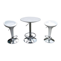 Boraam - Boraam Luna 3 Piece Adjustable Pub Set in White - Boraam - Pub Sets - 99332 - This modern and unique Luna Pub Set is perfect for the urban home and adds a bit of sass to the decor.
