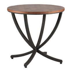 Kathy Kuo Home - Thaddeus Oyster Veneer Iron Cross Leg Side End Table - Unexpected details distinguish the Thaddeus table�۪s captivating design. Oyster veneer covers the circular top of the table, and the curved crossed iron legs are highlighted by a rusty black finish. Unique touches set this table apart from other occasional furnishings.