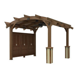 Outdoor Great Room - Privacy Wall for 12'x12' Sonoma Arched Pergola in Mocha Finish - Privacy Wall for 12' x 12' Sonoma Arched Wood Pergola in Mocha Finish.
