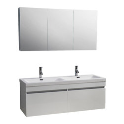 Virtu USA - 55in. Zuri Double Sink Bathroom Vanity - Gloss White - This beautiful double basin, wall-mounted vanity is the epicenter of quality and elegance. Take notice in the gorgeous modern design paired with durable materials, this vanity will look great for years to come. Featuring the perfect amount of storage with two large drawers on soft closing slides and a magnificent finish, this vanity will be sure to impress any guest.