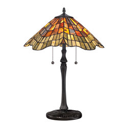 Quoizel - Quoizel TF1510TVB Tiffany 2 Light Table Lamps in Vintage Bronze - This 2 light Table Lamp from the Tiffany collection by Quoizel will enhance your home with a perfect mix of form and function. The features include a Vintage Bronze finish applied by experts. This item qualifies for free shipping!
