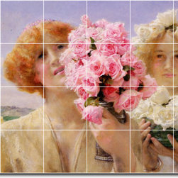 Picture-Tiles, LLC - Summer Offering Tile Mural By Lawrence Alma-Tadema - * MURAL SIZE: 32x48 inch tile mural using (24) 8x8 ceramic tiles-satin finish.